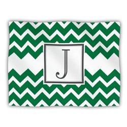 "Kess InHouse KESS Original ""Monogram Chevron Green Letter J"" Fleece Blanket, 60 by 50-Inch"