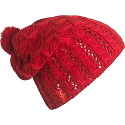 FU-R Headwear Women's Kalinda Lightweight Slouchy Pom Hat, Red, One Size