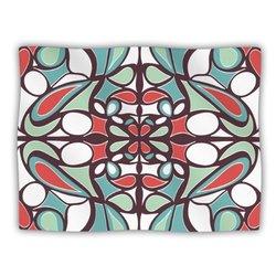 "Kess InHouse Miranda Mol ""Brown Round Tiles"" Fleece Blanket, 60 by 50-Inch"
