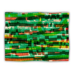 """Kess InHouse Frederic Levy-Hadida """"Squares Traffic Green"""" Blanket, 60 by 50-Inch"""