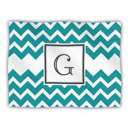 """Kess InHouse KESS Original """"Monogram Chevron Teal Letter G"""" Fleece Blanket, 60 by 50-Inch"""
