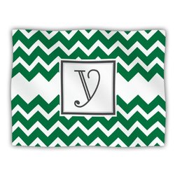 "Kess InHouse KESS Original ""Monogram Chevron Green Letter Y"" Fleece Blanket, 60 by 50-Inch"
