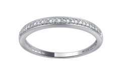 10K Round Diamond Accent Band - White Gold - Size: 8