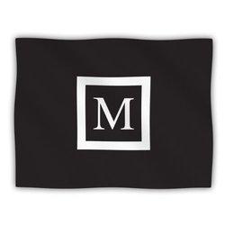 "Kess InHouse KESS Original ""Monogram Solid Black Letter M"" Fleece Blanket, 60 by 50-Inch"
