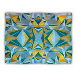 """Kess InHouse Nika Martinez """"Abstraction Blue and Gold"""" Fleece Blanket, 60 by 50-Inch"""