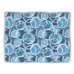 """Kess InHouse Julia Grifol """"Simple Circles in Blue"""" Blanket, 60 by 50-Inch"""