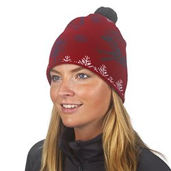 Turtle Fu Women's Stag Party Midweight Wool Pom Beanie - Red - One Size