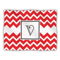 "Kess InHouse KESS Original ""Monogram Chevron Red Letter V"" Fleece Blanket, 60 by 50-Inch"