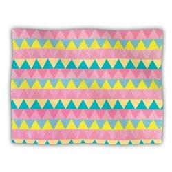 "Kess InHouse Louise Machado ""Triangles"" Yellow Pink Fleece Blanket, 60 by 50-Inch"