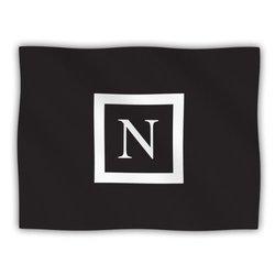 """Kess InHouse KESS Original """"Monogram Solid Black Letter N"""" Fleece Blanket, 60 by 50-Inch"""