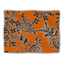 "Kess InHouse Vikki Salmela ""Blossom"" Orange Black Fleece Blanket, 60 by 50-Inch"
