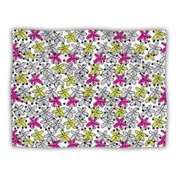 "Kess InHouse Nandita Singh ""Floral Spread"" Pink Yellow Fleece Blanket, 60 by 50-Inch"