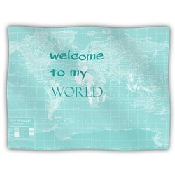 "Kess InHouse Catherine Holcombe ""Welcome to My World Quote"" Blanket, 60 by 50-Inch"
