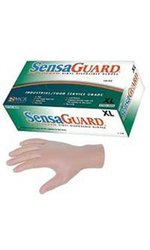 MCR Safety 5025S SensaGuard Vinyl Disposable Industrial Food Service Grade Powdered Gloves, Green, Small, 1-Pair