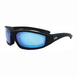 Global Vision Eyewear Black Frame Kickback Riding Glasses with GT Blue Lenses