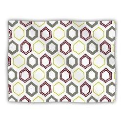 """Kess InHouse Laurie Baars """"Hexy Small"""" Purple Geometric Fleece Blanket, 60 by 50-Inch"""