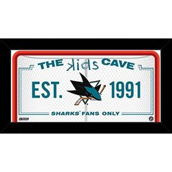 "NHL San Jose Sharks Kids Cave Sign, White, 10"" x 20"""