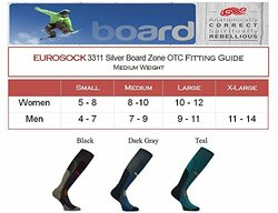Eurosocks Silver Board Zone Sock, Dark Grey, X-Large
