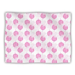 "Kess InHouse Apple Kaur Designs ""Wild Dandelions"" Pink Gray Fleece Blanket, 60 by 50-Inch"