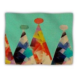 """Kess InHouse Bri Buckley """"Rainbow Peaks Green Pink"""" Blanket, 60 by 50-Inch"""
