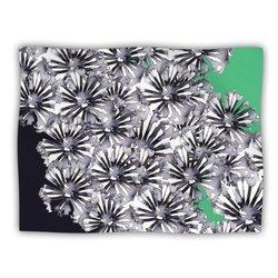 """Kess InHouse Sonal Nathwani """"Flowers on Green"""" Fleece Blanket, 60 by 50-Inch"""