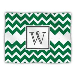 "Kess InHouse KESS Original ""Monogram Chevron Green Letter W"" Fleece Blanket, 60 by 50-Inch"