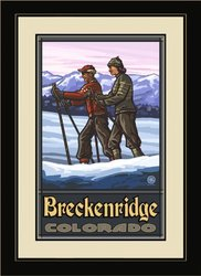 "16""x22"" Breckenridge Colorado Cross Country Skiers Framed Wall Art"