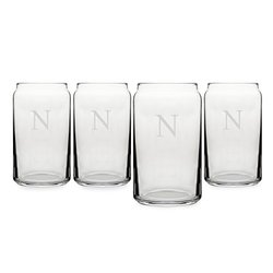 Cathy's Concepts Personalized Craft Beer Can Glasses, Set of 4, Letter N