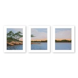 Art Wall 3-Piece Winded Pines by Ken Kirsch Flat/Rolled Canvas Art, 24 by 32-Inch