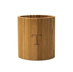 "Totally Bamboo Laser Monogrammed Oval Utensil Holder - ""T"""
