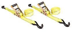 Highland (1167700) Yellow 15' 2-Piece Ratchet Tie Down with Hooks