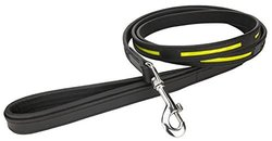 Angel Pet Supplies Leather Reflective Leash, 72 by 3/4-Inch, Black