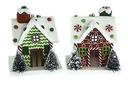 Renaissance 2000 2-Assorted 3D Gingerbread House with Led Lights Figurines