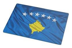 Rikki Knight Large Kosovo Flag Glass Cutting Board - White