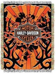 "Harley Davidson Inkburst Acrylic Tapestry Throw - 48 x 60"""
