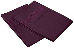 Luxor Treasures Brushed Microfiber 2-Pc Pillowcases Set - Plum - Sz: King