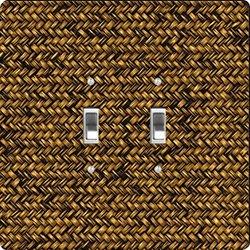 Rikki Knight Grunge Dark Basket Weave Design Double Toggle Light Switch Plate