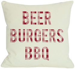 """Bentin Home Decor Beer Burgers BBQ Outdoor Throw Pillow by OBC, 18""""x 18"""", Ivory/Red Plaid"""
