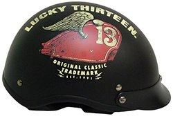 TORC T55 Spec-Op Half Helmet w/ 'Lucky 13 Tank' Graphic - Black - Medium)