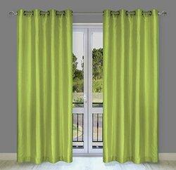 "Faux Silk 56""x88""-in Silkana Grommet 2-Piece Curtain Set, Chartreuse Green"