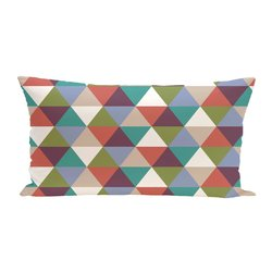 E By Design Geometric Decorative Outdoor Seat Cushion - Green/Red
