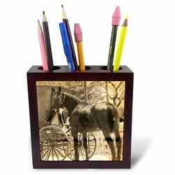 ph_184525_1 Amish Bringing Home a New Horse Sepia Tile Pen Holder, 5""