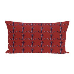 E By Design Anchor Decorative Outdoor Seat Cushion - Away Cardinal