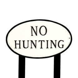 Montague Metal Large White and Black No Hunting Oval Statement Plaque