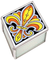 Amia 41100 Petite Fleur-de-Lis Jewelry Box, 2-1/2 by 1-1/4 by 3-Inch, Black and Gold