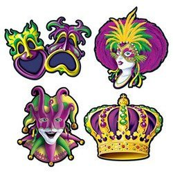 Beistle Mardi Gras Party Cutouts 4 count