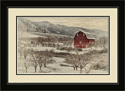 Northwest Art Mall NB-7826 MFGDM Laraway Barn Framed Wall Art by Artist Nicholas Bielemeier, 13 x 16""