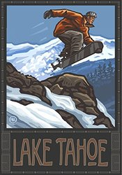 Northwest Art Mall PAL-0180L SBJ Lake Tahoe Snowboarder Jumping Print by Paul A. Lanquist, 18 by 24-Inch