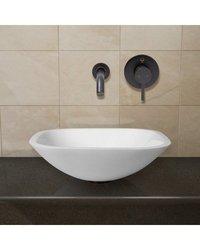 Vigo Square Shaped White Phoenix Stone Vessel & Faucet - Antique Bronze