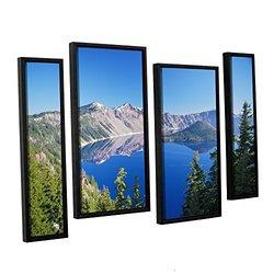 "ArtWall Dan 36x54"" Wilson's Crater Lake 4-Pc Floater Framed Canvas Artwork"